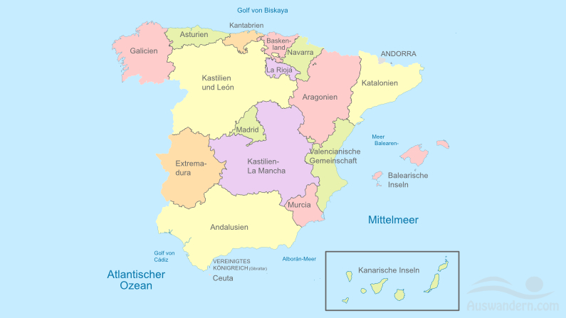 Regionen Spaniens im Überblick